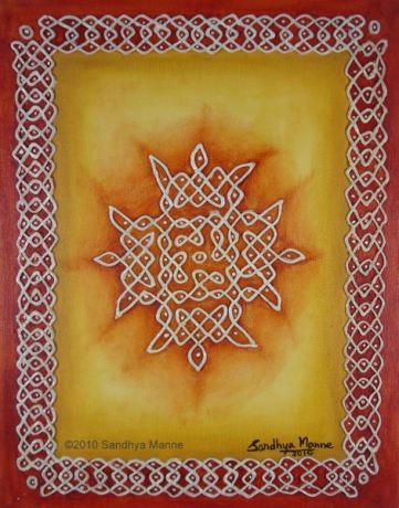Thisis a very beautiful design pattern inspired by the ancient Indian art made of dots and lines called KOLAMS on Yellow Ocher Background. The artwork is done on Canvas Board and I have used Clay to do the embossed dots and lines.I wanted an earthy background and so used Yellow Ocher and Sienna on the Borders.
