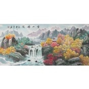 Colorful landscape painting of waterfalls in the southern mountains of China.
