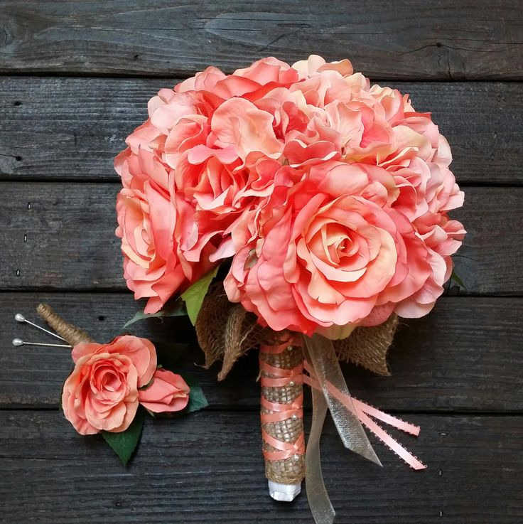 Coral Bridal Bouquet, Rose and Hydrangea Bouquet, Silk Flower Bouquet, Rose Wedding Bouquet, Hydrangea Wedding Bouquet, Chic Bridal Bouquet by CherishDecorDesign on Etsy