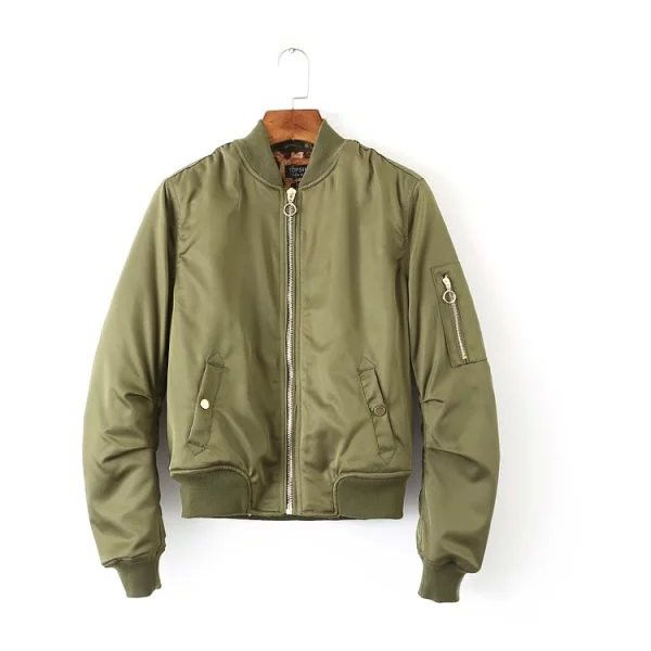Vintage Army Green Flying Bomber Jacket JA0150039-1 ($59) ❤ liked on Polyvore featuring outerwear, jackets, green, army green jacket, zip jacket, green jacket, brown jacket and flight jacket