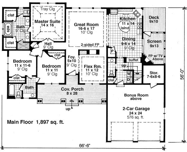 Plan 14567RK Flex Space Bonus Room