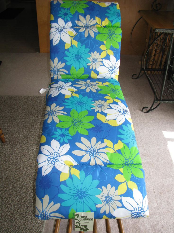 Chaise Lounge Cushion Patio Kathy Cyan Blue Green White Floral Pattern New