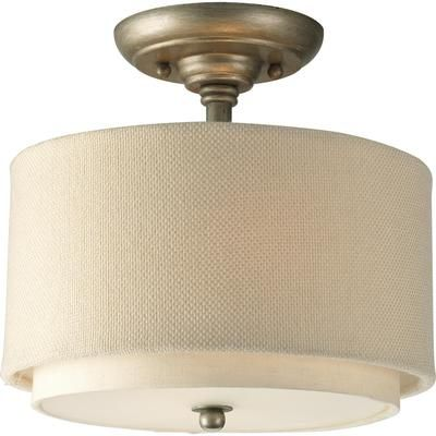 Progress lighting ashbury two light semi flush mount ceiling fixture with thistle weave and toasted linen fabric shades convertible to pendant