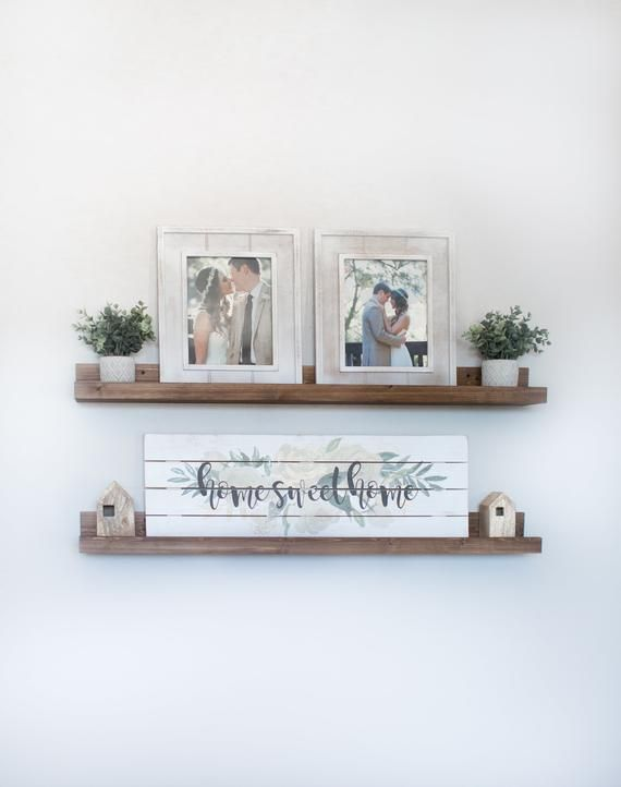 Free Shipping Rustic Wooden Picture Ledge Shelf Ledge Etsy Rustic Floating Shelves Rustic Wall Shelves Decor