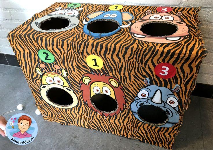 Bal werpen kleuters, safarispel, kleuteridee, thema Afrika, kindergarten bal game, Africa theme.