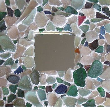 A sea glass mirror. Take an old frame, hot glue the sea glass on and finish it with mosaic grout.