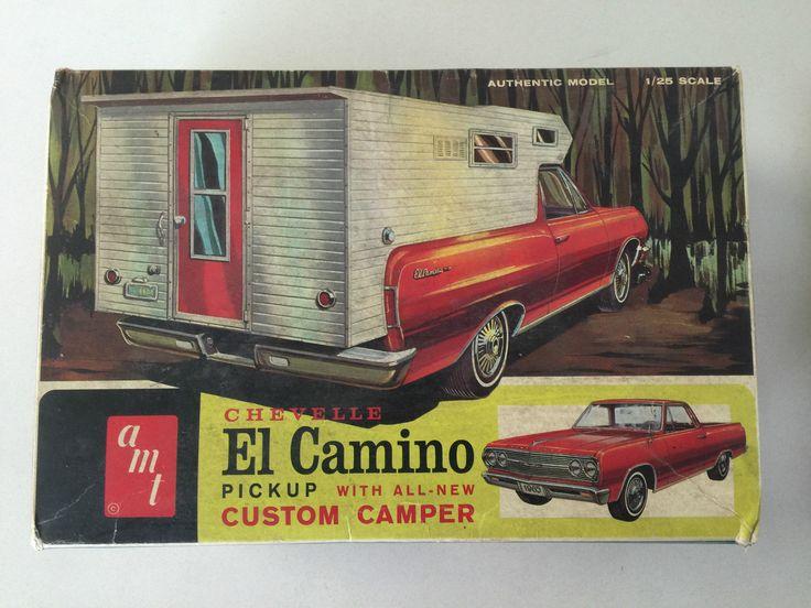 AMT 8735 200 '65 El Camino Pickup camper Plastic Model Kit Vtg Old Original Box | eBay