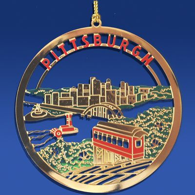 Pittsburgh Incline Brass Ornament, Pittsburgh Ornaments, Pittsburgh ...