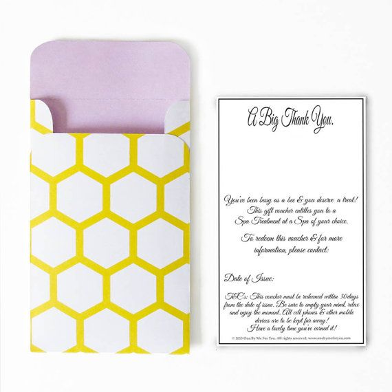 Busy Bee. Spa Treatment. DIY Thank You Gift by OneByMeForYou, $5.00