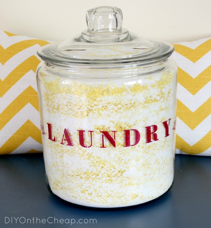 Maybe I'll actually enjoy doing laundry now! This stenciled laundry jar is so cute.