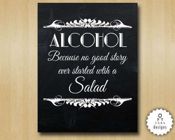 Chalkboard Art Deco Alcohol Because No Great by OptiqalDesigns, $3.00