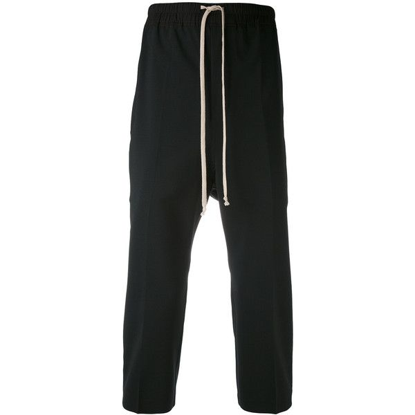 Rick Owens Astaires trousers (8800 MAD) ❤ liked on Polyvore featuring men's fashion, men's clothing, men's pants, men's casual pants, black, mens cropped pants, mens drop crotch pants, mens elastic waist pants, mens stretch waist pants and mens drawstring pants
