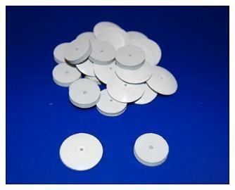 GOMAS EXA BLANCA • Para pulido y acabado de nylon, acrílico, metal y porcelana - Cod 33120 RUEDA 301 (22 mm) - Cod 33124 DISCO 302 - Cod 33125 PUNTA 303