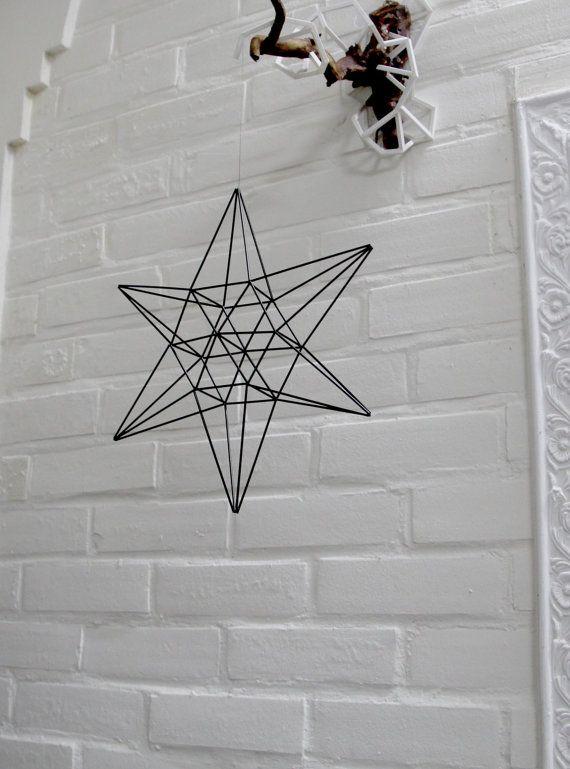 LUCKY STAR Himmeli   Modern Hanging Mobile   Geometric Art Sphere   Air Plant Hanger   Minimalist Home Decor