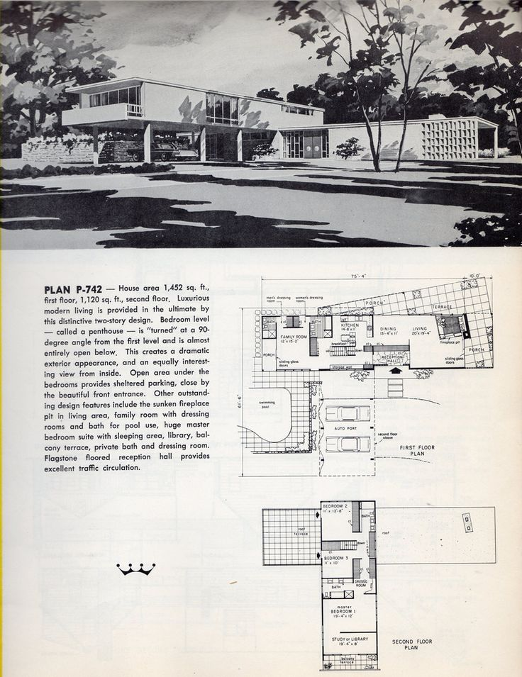 Mid century modern Floor Plans for a 2 Story Modern Home751 best Mid Century Homes images on Pinterest   Vintage houses  . Mid Century Modern Home Floor Plans. Home Design Ideas