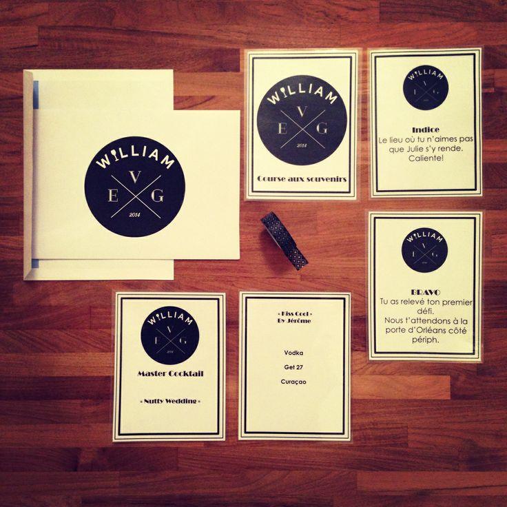 Kit papeterie de l'EVG de William (logo, plusieurs fiches pour une course aux souvenirs dans Paris, des fiches pour une soirée master cocktail). ©LFP