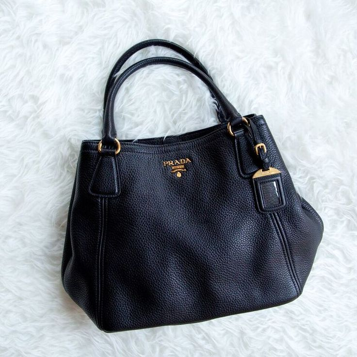 Prada satchel bag in black pebbled calfskin with gold hardware ...