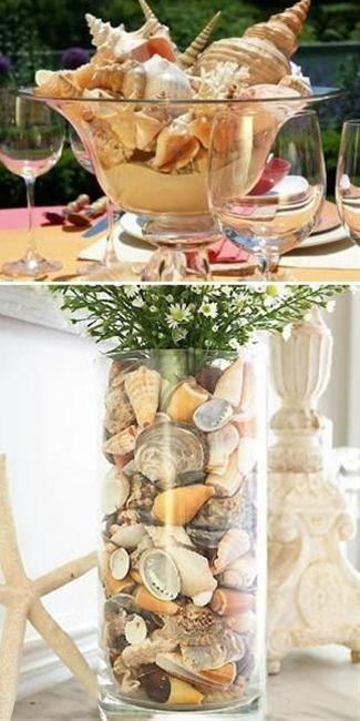 Sea Shell Crafts and Unique Table Centerpiece Idea