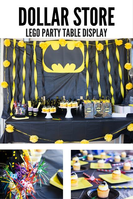 do it yourself divas: DIY LEGO Batman Birthday Party. DIY piñata. DIY Batman piñata. Dollar store lego birthday party table display. How to make the batman sign / symbol. Perfect party goodie bags for a lego birthday party. Batman cupcakes.