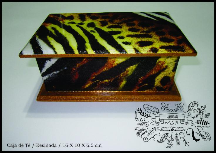 Caja de té en madera animal print / Servilleta / Resina