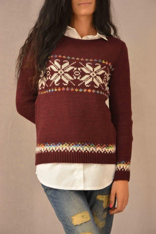 Γυναικείο πουλόβερ ζακάρ  PLEK-2705-bu Πλεκτά - Πλεκτά και ζακέτες