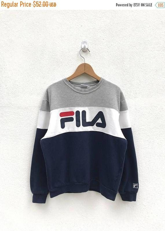 Vintage Fila Big Logo Sweatshirt Fila Sweater Casual Clothing Fila ... 7c0dde66847
