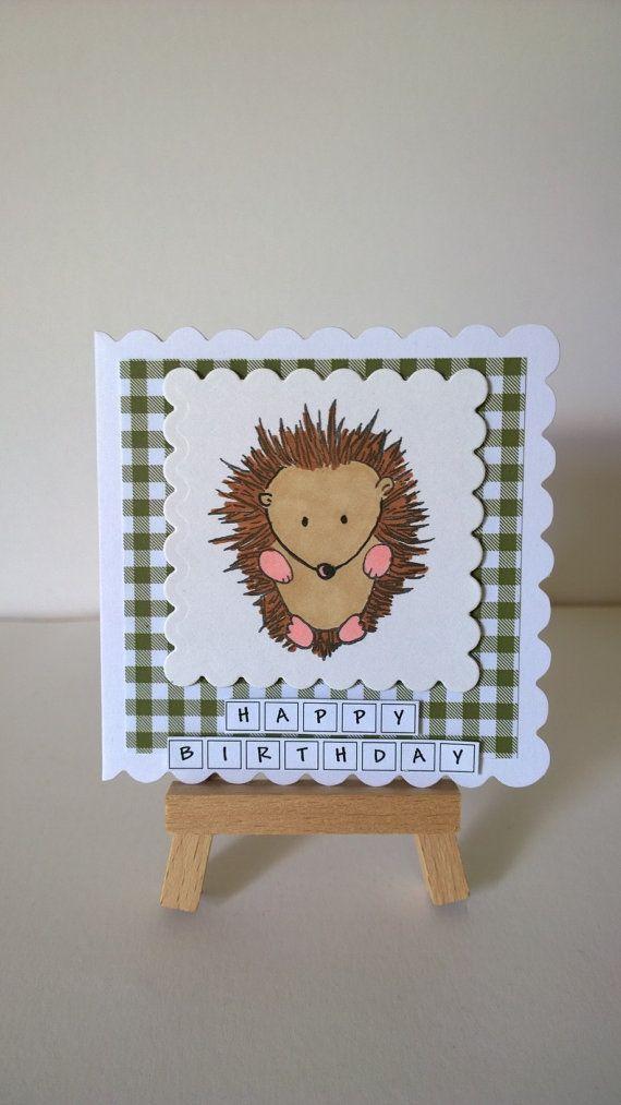 Handmade Hedgehog Birthday Card by Lazymitts on Etsy