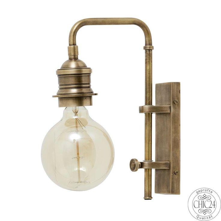Wandlampe im Fabrik Design Antik Messing - chic24 - Vintage Möbel und Industriedesign Lampen Online kaufen, € 129,90