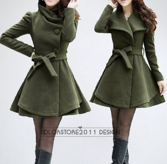 4 colors women's Princess style cape dress Coat jacket with belt Apring autumn winter coat  jacket cute coat dy43 M-XXL on Etsy, $88.99
