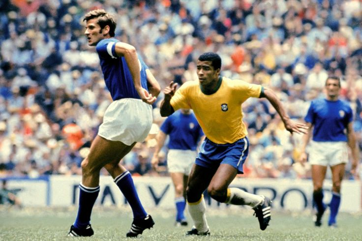 "Giacinto Facchetti (Italy, 1963–1977, 94 caps, 3 goals) and ""Jairzinho"" Jair Ventura Filho (Brazil, 1964–1982, 81 caps, 33 goals). Brazil vs Italy 4-1 (1-0 Pelé 18', 1-1 Boninsegna 37', 2-1 Gérson 66', 3-1 Jairzinho 71', 4-1 Carlos Alberto 86'), 1970 FIFA World Cup Final at the Estadio Azteca (Mexico City, Mexico) on 21 June 1970."