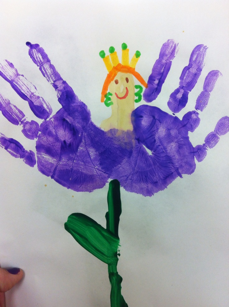 """Thumbprint Thumbelina"" after reading Thumbelina we used out hands to create the flower that she sits upon. Paint fingers and palms purple, paint thumb a skin color. When dry, add detail with markers"