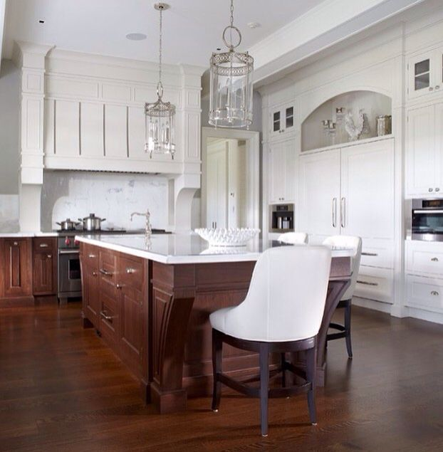 Kitchen White Upper Cabinets Dark Lower: Love The Combo Of White Upper Cabinets With Stained Lower
