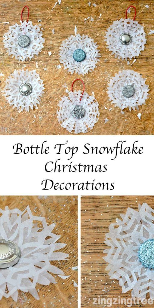 Make your own stunning bottle top snowflake Christmas decorations. They add a gorgeous flurry of white to you home and are perfect for decorating walls, furniture and Christmas trees.