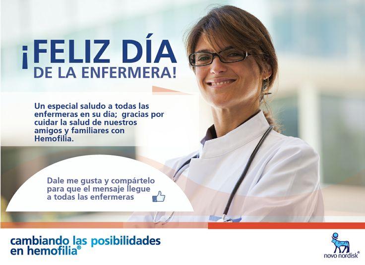 Feliz día de la #enfermera.  Un especial saludo a todas en su día; gracias por cuidar la salud de nuestros amigos y familiares con #Hemofilia.