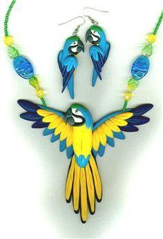 Papagei Ohrringe Halskette
