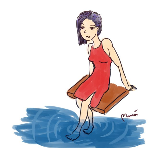 Lady by water #mariadrawsdaily #art #drawing