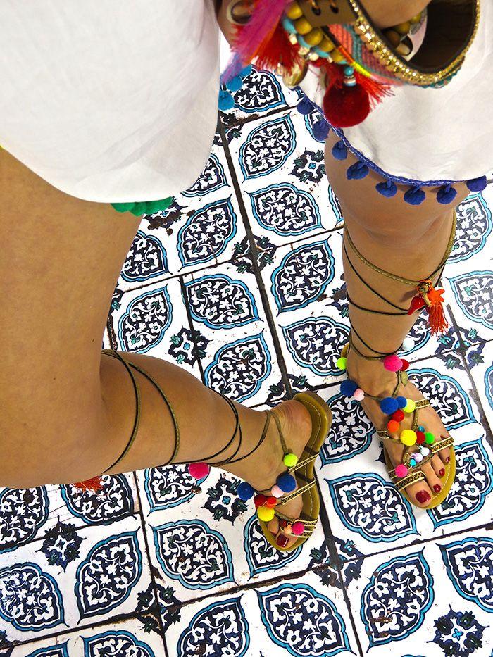 POMPOM sandals / tassels / boho my real foto !! you can buy it here: www.elikshoe.pl Facebook: www.facebook.com/elikshoe Snapchat: elikshoe  #elikshoe #ewelina_bednarz #kolekcjonerka_butow #shoes #buty