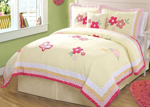 Pink Yellow Butterfly Bedding Full Queen Quilt Set