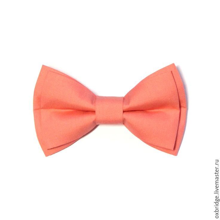 Купить Галстук бабочка кораллового цвета / Бабочка галстук коралловый - галстук бабочка