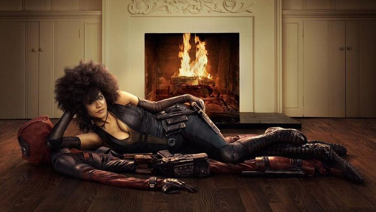 First look at Zazie Beetz (from the awesome series Atlanta) as Domino in the upcoming Deadpool sequel.  It's a nice throwback to the first Deadpool movie where Deadpool was lying on a bear rug. I guess this isn't what @vancityreynolds meant wen he wanted Zazie Beetz on top of him. -Melvin #Deadpool #domino #zaziebeetz #atlanta #deadpool2 #marvel #comics #movie #deadpoolmovie #xmen #xforce #deadpoolcosplay #ryanreynolds #firstlook