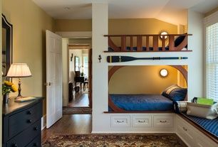 Craftsman Kids Bedroom with Standard height, can lights, double-hung window, Window seat, Paint 1, Bunk beds, six panel door