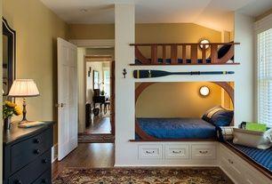 Craftsman Kids Bedroom with Hardwood floors, Window seat, West Elm Lexington Coverlet + Shams, Bunk beds, Wall sconce