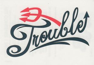 Temporary Tattoo ❤ Sexy Script Letters Word Trouble ❤ Made in ...