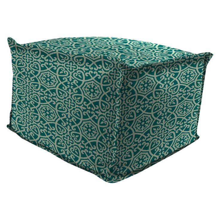 Outdoor Bean Filled Pouf/Ottoman In Ayathena Teal - Jordan Manufacturing