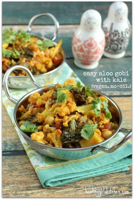 Easy Aloo Gobi with Kale Recipe. Vegan. No-oil.