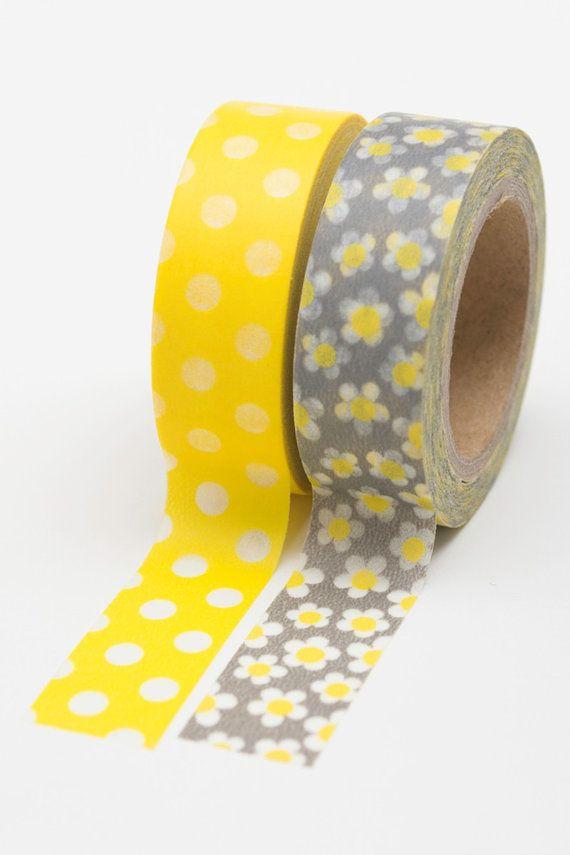 Yellow and Grey Washi Tape