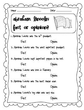 Abraham Lincoln CCSS aligned Fact and Opinion Lesson and Writing Extension!