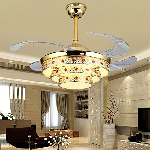 Arctic Retro Ceiling Fan With Remote Control,Retractable Blades,42 Inch Chandelier For Living Room,Bedroom-Metal,Crystal (42 Inch, Gold)