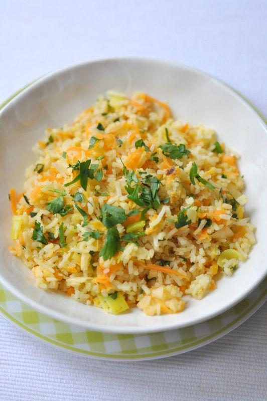 Riz saute carotte poireau coriandre