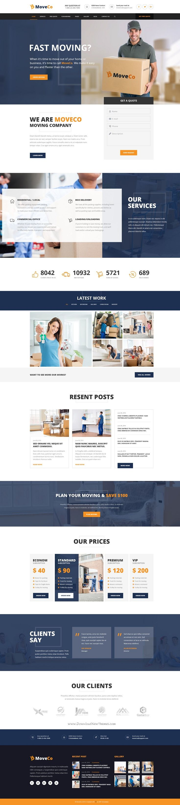 MoveCo is premium #PSD theme for moving company, local #delivery service or…